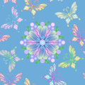Vector Seamless Floral Lace With Butterflies Stock Photo - 23982050