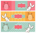 Tribal Egg And Easter Bunny Banners Set Stock Images - 23984744