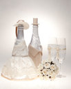 Bottle, Decorated As A Bride And Groom. Royalty Free Stock Photos - 23990448