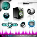Vector Icon Collection On A Music Theme. Royalty Free Stock Photography - 24014087