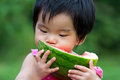 Baby Eating Watermelon Royalty Free Stock Image - 24020566