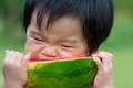 Baby Eating Watermelon Stock Photography - 24039852