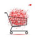 Cloud Of Hearts  In Shopping Cart For Your Design Royalty Free Stock Images - 24040479
