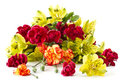 Alstroemeria And Red Carnations Royalty Free Stock Photos - 24053888