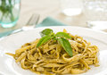 Fettuccine With Pesto Stock Photography - 24057082
