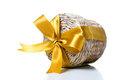 Wicker Box With Yellow Ribbon Royalty Free Stock Photography - 24063017