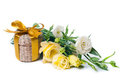 Present Box And Bouquet Royalty Free Stock Image - 24063046
