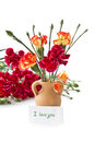 Bouquet Of Red Carnations Royalty Free Stock Image - 24070236