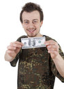 Smiling Young Guy Holding One Hundred Dollars Royalty Free Stock Image - 24072786