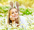 Beautiful Female Laying On The Flower Filed Stock Image - 24095241