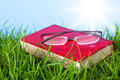 Red Book On Grass With Spectacles. Royalty Free Stock Photos - 24107388