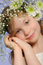 Vertical Portrait Girl With Wreath Of Flowers Royalty Free Stock Image - 24122066