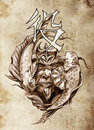 Tattoo Art, Sketch Of A Japanese Warrior Stock Photo - 24139840