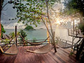 Seculed Terrace With Wooden Hammocks Royalty Free Stock Image - 24165426