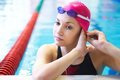 Beautiful Girl  At The Pool Stock Photography - 24174082