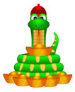 Cute Chinese New Year Snake With Gold Money Stock Photography - 24178352