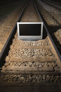 Television On Train Tracks. Royalty Free Stock Images - 2425349