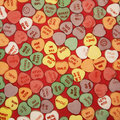 Candy Hearts On Red. Stock Image - 2426241