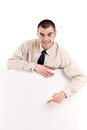 Business Man Showing Blank Signboard Stock Image - 24257861