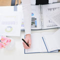 Closeup On Hand Of Working With Business Woman Royalty Free Stock Photo - 24270365