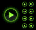 Vector Glossy 3d Player Green Buttons Set. Stock Photo - 24300580