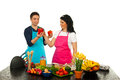 Husband Gives Wife To Choice Pepper Stock Photography - 24307532