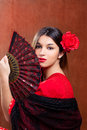 Flamenco Dancer Woman Gipsy Red Rose  Spanish Fan Royalty Free Stock Image - 24315426