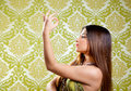 Asian Indian Brunette Girl With Long Hair Dancing Stock Photography - 24316652