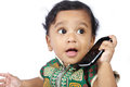Baby With Cellphone Royalty Free Stock Photo - 24328555