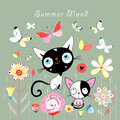 Kittens And Butterflies Stock Photography - 24329912