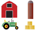 Farm With Red Barn Tractor And Animals Royalty Free Stock Photography - 24343357