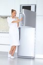 Vivacious Woman In Bathrobe And Slippers Stock Image - 24347031