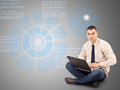 Business Man Working On A Laptop Royalty Free Stock Image - 24349576
