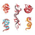 Glass Asia Hot Dragon Colored Sign Set Royalty Free Stock Photo - 24352145