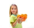 Little Girl With Oranges Isolated On White Royalty Free Stock Image - 24358926