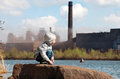Industrial Landscape With Playing Boy Stock Photos - 24378583