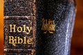 Old Damaged Holy Bible Book Spine Detail Close Up Stock Photography - 24388002