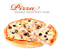 Pizza With Mushroom And Olives Stock Photo - 24405950