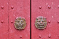 Aged Wooden Door In Red Royalty Free Stock Photo - 24425245