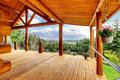 Beautiful View Of The Log Cabin House Porch. Royalty Free Stock Photo - 24436455