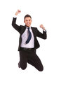 Extremely Excited Business Man Jumping Stock Images - 24441054