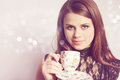 Beauty Holds Cup Tea Royalty Free Stock Image - 24444476