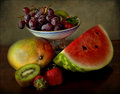 Grapes, Mango, Kiwi, Strawberries And Watermelon Royalty Free Stock Photography - 24449457