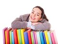 Woman Holding Book. Royalty Free Stock Photo - 24459195
