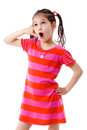 Girl Gesturing Talking On Telephone Stock Images - 24470664