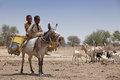 Kids On A Donkey In Africa Royalty Free Stock Photos - 24471778