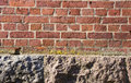 Background Red Brick Wall Stone House Foundations Royalty Free Stock Image - 24479066
