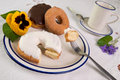 Donuts On Plate Royalty Free Stock Photography - 2458357