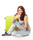 Nice Smiling Girl With Her Luggage Stock Photo - 24502900