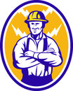 Electrician Construction Worker Lightning Bolt Royalty Free Stock Images - 24511539